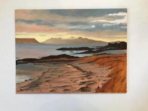 Doris Thomson,  Beach at Morar,  oil on board, 41x31cm,  £85