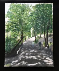 Doris Thomson,  A walk in the woods. Dalkeith.  Oil on canvas  30cm x 40cm. NFS