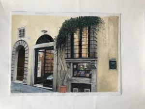 Doris Thomson, The Almost Corner Bookshop in Rome,  oil on board, 30x22cm,  NFS