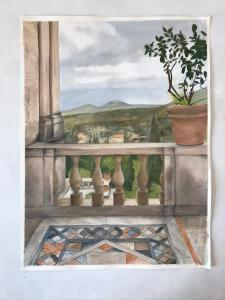 Doris Thomson,  View over Tivoli.Villa d`Este Rome.  Oil on oiled paper 29cm x 39cm. NFS