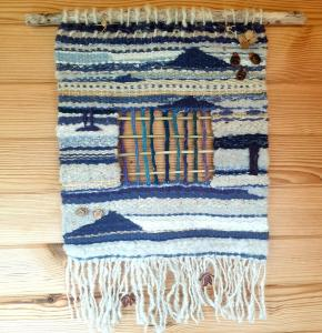 Della Rea, Tapestry weaving .natural wool, plant fibres. handspun and home indigo dyed