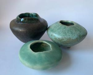 Mary Frith, Three Vessels,  ceramic, from 10x7.5cm to 8x3cm,  £35