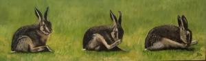 """David Chalmers,  Hare at Ballencrieff.  Oil on Canvas. 40"""" x 12"""".  NFS"""