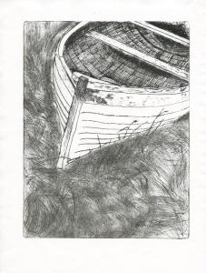 Malcolm Innes, Shetland Boat, Intaglio print on paper, 19.5x26cm,£40
