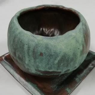Bridget Abel,  Plant Pot with Tray in Green, glazed clay