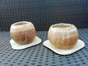 Bridget Abel, Pair of Pinch Pots with Trays, clay,  NFS