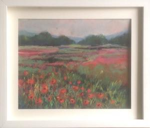 Annie Bruckner, Pastel  Tyne River Poppies .Pastels on pastel paper. 11inches x 13 inches.£95.