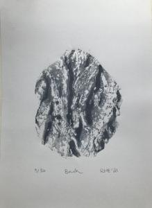 Rosemary Everett, Bark.  Relief print (from clay plate). 29.8 cm x 21. Edition of 30 – this is print 9/30. £20