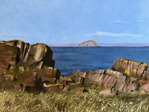 Leonard Mair, The Bass (from Tyninghame Rocks).  Oil on linen panel 30 x 40cm  £195 nicely framed