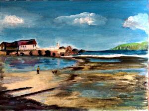Anne Duncan (Perratt), Beach 2.   Acrylic on stretched canvas  30cm x 40cm. £80