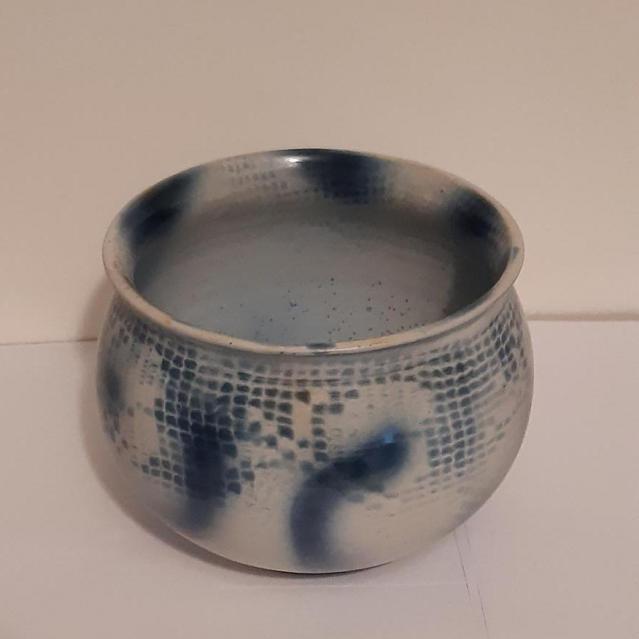Laura Abbott, Blue Textile Ceramic, stoneware, d 16.5 h 15cm, £30