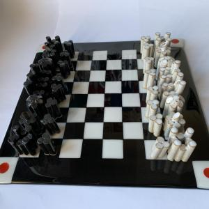 Russell Frith,  Chess Set and Board, ceramic and glass, 30.5x35.5cm, tallest pieces 5.5cm,  NFS