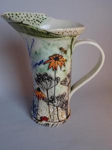 Lorna Watt,  Rudbeckia jug Porcelain,   height 19.5cm £65