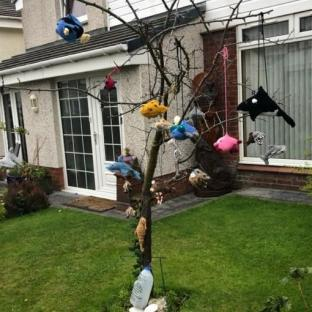 Jess McCafferty,  Dead Plum Tree  and Fish, bought & hand spun wool, stuffing with sheep fleece, items given away to children