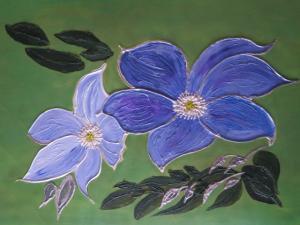 Judith Dunkerley,  Flowers of Summer Blue, acrylic on paper,  39x 29cm, NFS