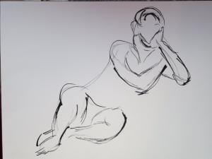 Judith Dunkerley,  Ink Sketch, indian ink on paper, 40x30cm, NFS