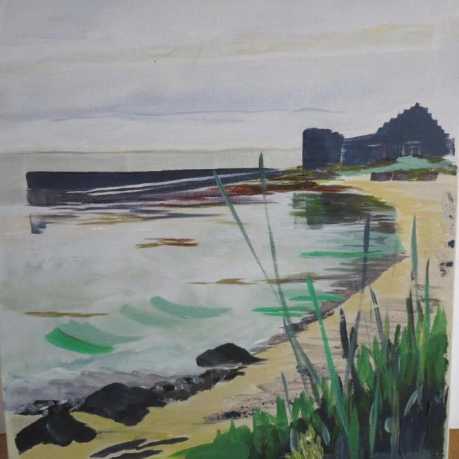 Judith Dunkerley,   Papa Westry, Orkney Islands. Acrylic on canvas.  NFS