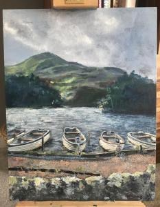 Mandy McGowan, Small Boats, acrylic on canvas board, 46x35cm, £50Glencorse Reservoir, Pentland Hills