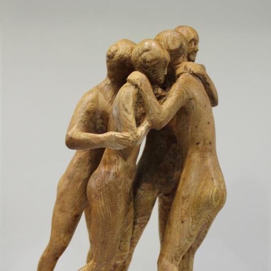 Julian Tennant,  Athletes Hugging, elm wood, 34x20cm,  NFS