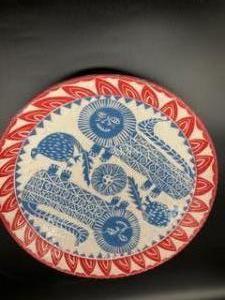 Julia Albert-Recht, Lion Bowl.  White Earthenware,  Dimensions 29cm x 9cm. NFS