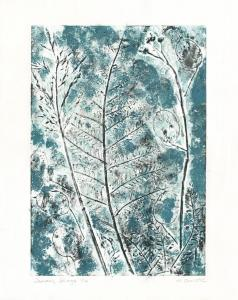 Heather Christie.  January Foliage, linocut and paint, 28x 35.5cm, £40