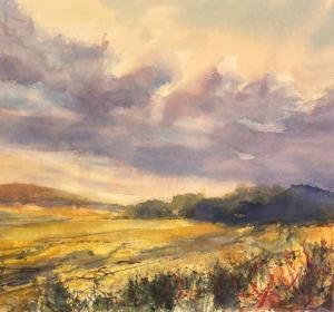 Sheena Phillips,  Lammermuir autumn. Watercolour 75 cm x 78 cm £POA