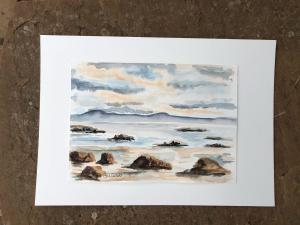 Sally Heaphy,   Light on the Shore.  Watercolour  297mm x 210mm.  £45.00