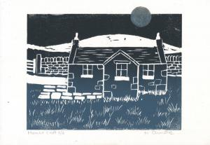 Heather Christie.  Moonlit Croft, linocut and paint, 28x19cm,  £30