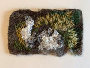 Jackie Fry,  Moss  Lichen.  Embroidered felt piece. 19 cm x 13 cm