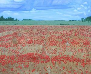 John Mole, Poppy Field, acrylic on canvas, 56x46cm,  £200