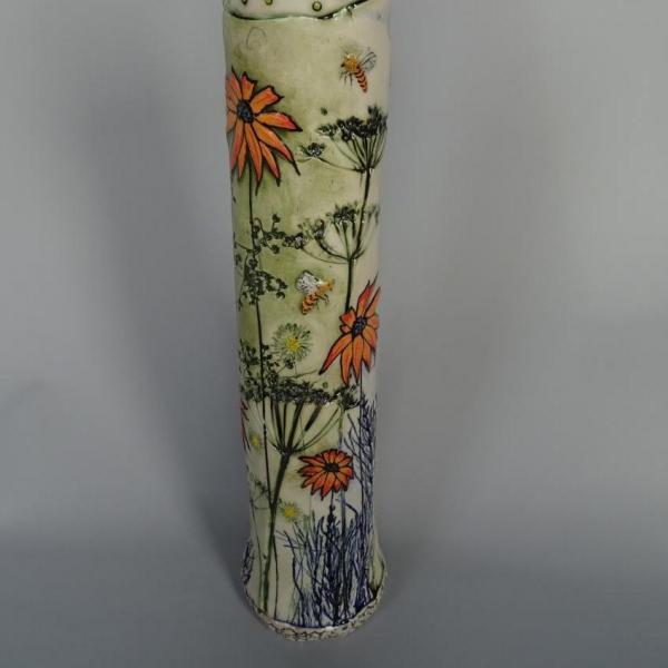 Lorna Watt,  Rudbeckia Vase,  porcelain,  42cm, SOLD