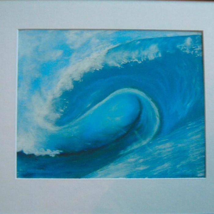 Alny Graham, Surfers Delight, pastel on card, 43x38cm (framed), £90