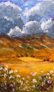 Valerie Pellatt, The Lammermuirs in May, oil on canvas, 36x58.5cm, £75