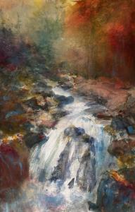 Sheena Phillips,  Torrent, the Hermitage, Dunkeld Watercolour 38 cm x 56 cm.  £POA