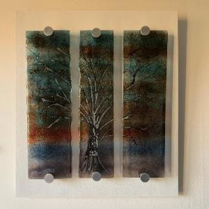 Mary Frith,   Winter Tree, fused glass on white board, 40x35cm,  £125