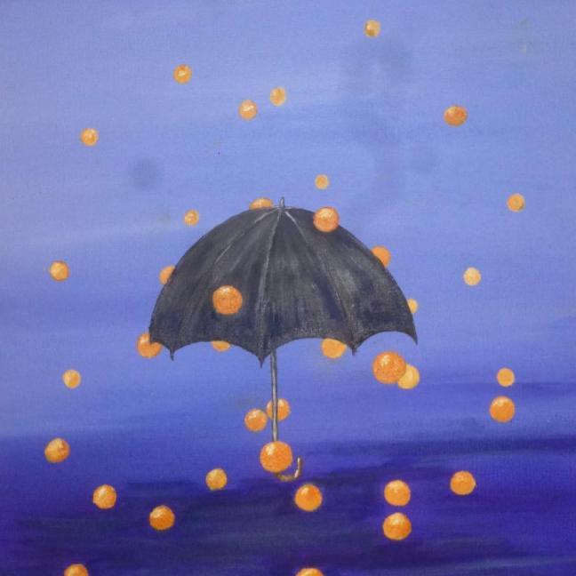 Jane Mill-Irving,  Umbrella. acrylic on canvas, 30x40cm,  £90