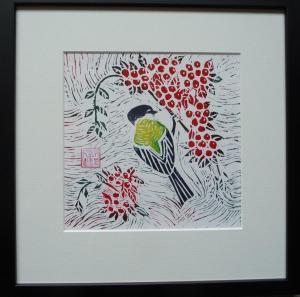 Valerie Pellatt, Winter Feast, lino block print on paper (framed) 29x29.5cm, £75