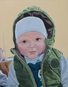 """John Mole, Wee Arthur.  Acylic on Canvas. 14"""" x 18"""" . £180"""