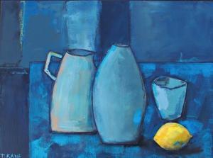 Trisha Kane,  Blues with Lemon,acrylic on canvas, 40x30cm, £115