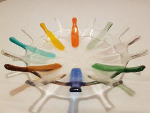 Jennifer Jones, Splash Bowl Multi Coloured, bullseye 3mm glass,  NFS
