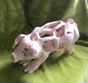 Valerie Duncan, Holey Pig!, clay 26x 9x15cm, £100
