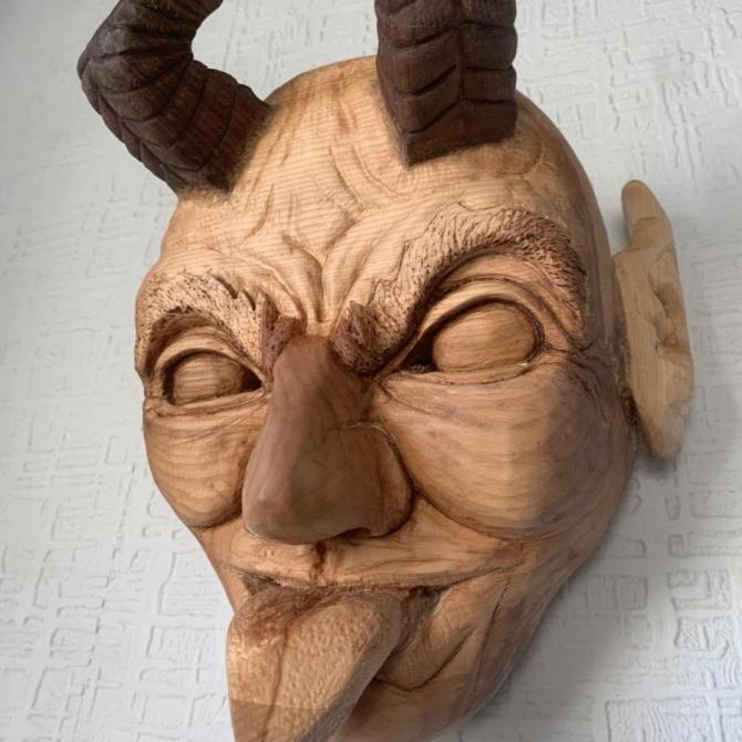 Robin Cameron,  Krampus Mask,  carved lime & walnut, 35x20x15cm,  NFS