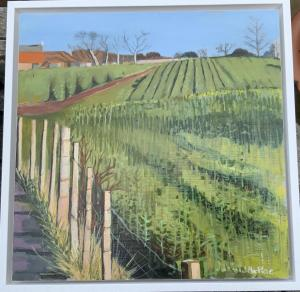 Joan MacRae, Williamstone Farm, Rape Field, oil on plywood, 33x33cm (framed),  £150