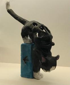 Valerie Duncan, Climbing Cat, clay 21x11x40cm, £100