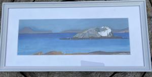 Joan MacRae,  'The Lamb' from Wester Dunes, oil on card (framed), 52x25cm, £75