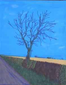 "John Mole, Lockdown Tree. Acrylic on canvas.  11""x14"".  £150"